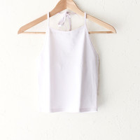 Halter Crop Top - White