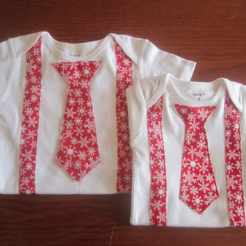2 Baby Christmas outfit for twin, Boy red white snow flake Onesuit, Baby X mas shirt, boy Christmas neck tie onsie, Christmas bow tie Onesuit