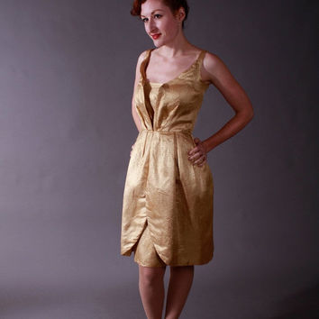 CHRISTMAS SALE - 1950s Vintage Cocktail Dress - Shimmering Gold Lamé Petal Skirt Party Dress VLV - Siren Song