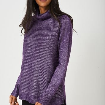 Knitted Metallic Yarn Jumper in Purple