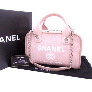 CHANEL Deauville 2 Way Bag Hand Shoulder Chain Purse Canvas Leather Pink Auth