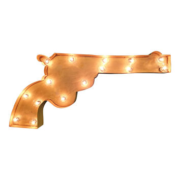 Pistol Symbol Marquee Sign Light