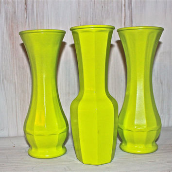 Lime Green up cycled Vase Set by AquaXpressions