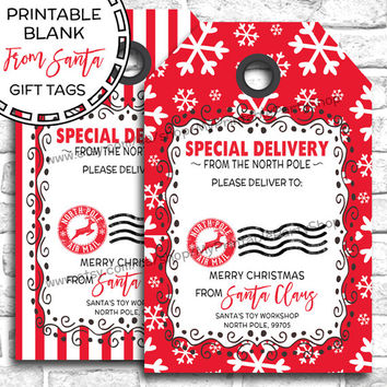 Printable Christmas Gift Tags, BLANK From Santa Gift Tags, Santa Gift Tags, Special Delivery, Christmas Tags, Santa Tags, INSTANT DOWNLOAD