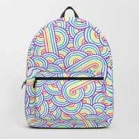 Rainbow and white swirls doodles Backpacks by Savousepate