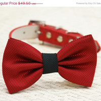 Red and Black dog bow tie, Bow attached to red dog collar, dog lovers, dog birthday gift, pet accessory, black and red wedding