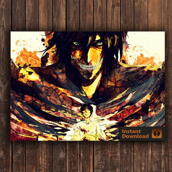 Eren Attack on Titan Anime Shingeki no Kyojin, INSTANT DOWNLOAD, Anime Poster, Digital Poster, Watercolor Poster, Watercolor Print