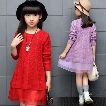 Red Kids Teenage girls clothing New autumn winter 2017 knitted sweater mesh dress princess Dress 5 6 8 10 12 13 years old 64