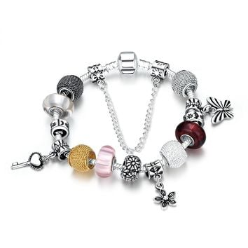 Silver Plated Colorful Beads Key Butterfly Charm Colored Butterflies