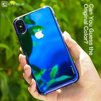 CAFELE Originality Phone Case For iPhone X 10 cases luxury Mirror Glare effect Transparent light Case For iPhone X 10 Hard Cover