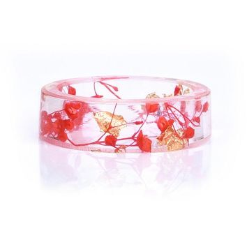 Transparent Resin Ring with Dried Flower Preserved In Resin Real Flower Gift For Her love gifts