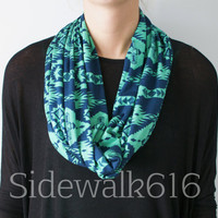 Teal Tribal Print Knit Infinity Scarf