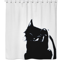 Cat Cleaning Itself Shower Curtain