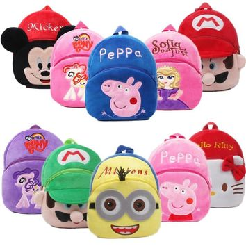 Super Mario party nes switch Anime Cartoon  Little Pony Sofia Toddler Peppa Kids Children Boy Girl Schoolbag Backpack Student Shoulder Plush Bag AT_80_8
