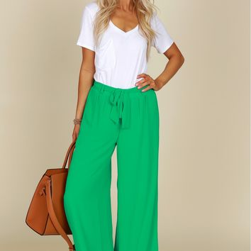 Classic Palazzo Pants Kelly Green