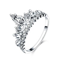 STYLEDOME 925 Sterling Silver Ring with Crown Shape for Women