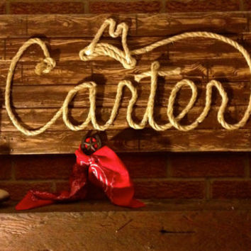 Western Wood Rope Name Sign Baby Country Rustic Distressed Nursery Decor Cowboy Room 6 Letter