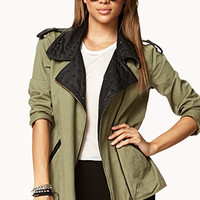 Studded Faux Leather Utility Jacket