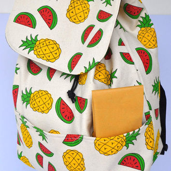 Quality New Zealand  canvas backpack  HELGENFJORD pineapple/melon design with free pineapple storage pouch, schoolbag ,holiday bag