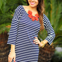 Forget Me Not Dress: Navy/White | Hope's