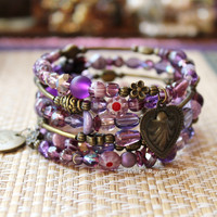 Purple and Bronze Beaded Memory Wire spiral Wrap Bracelet - Boho Goddess Gypsy bangle - Handcrafted by White Raven Designs