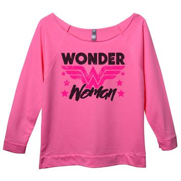 Wonder Woman Womens 3/4 Long Sleeve Vintage Raw Edge Shirt