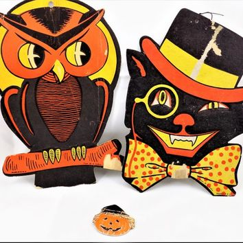 H.E. Luhrs Halloween Wall Decor, Black Cat, Perched Owl, Orange and Black, Vintage Halloween Decor