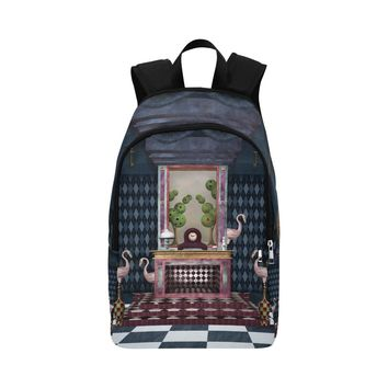 Fireplace And Flamingos Fabric Backpack