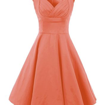 Vianla Women's 1950s V Neck Vintage Cut Out Retro Party Cocktail Dresses