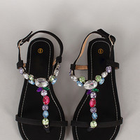 Vita-12 Jeweled T-Strap Open Toe Flat Sandal