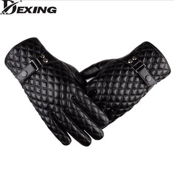 [Dexing]Black winter gloves men leather Mittens Keep Warm Touch Screen Windproof Driving Gloves  Male