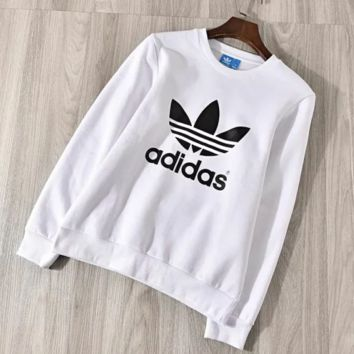 Adidas Autumn And Winter Fashion New Bust Letter Leaf Print Women Men Keep Warm Thick Leisure Long Sleeve Top Sweater White