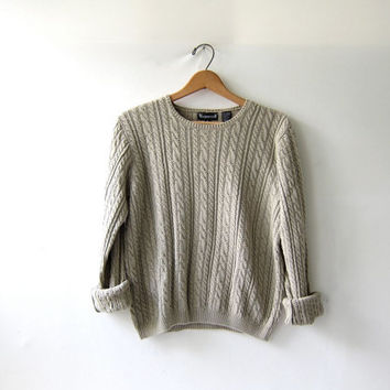 20% OFF SALE...vintage cropped sweater. oatmeal sweater. cable knit sweater