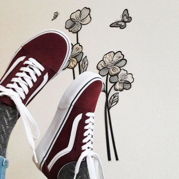 """Vans"" Old School More Color Casual Shoes Men and women classic black cloth shoes Wine red"