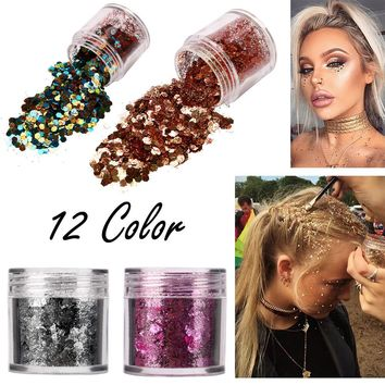New 12 Colors Shimmer Loose Sequins Powder Face Body Glitter Paillette Nail Art Decor Makeup 5g free