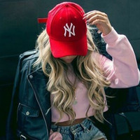 "Unisex Clean Up Adjustable Baseball Cap ""NY"" Red white letters"
