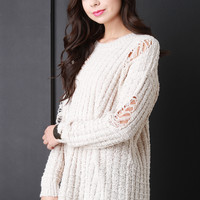 Cozy Pullover Distressed Knit Sweater
