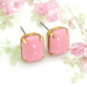 Bubblegum Pink Glass Jewel Post Earrings - Vintage Pink Rhinestone Wedding, Bridal, Bridesmaid Stud Earrings