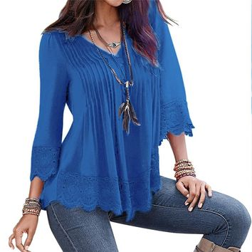 Peplum Lace Blouse Womens Ruffle Boho Tops Femme Ladies Long Office Shirt 2018 Summer Sexy Tunic Female Tops And Blouses
