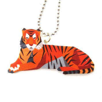 Tiger Illustrated Animal Themed Pendant Necklace | Handmade Shrink Plastic