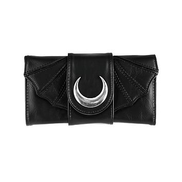 Moon Night Bat Wings Black Faux Leather Tri-Fold wallet