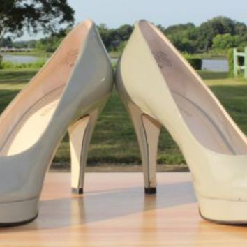 "Enzo Angiolini Patent Leather Platform Stiletto 4"" Heels Beige-Green Size 8 M"