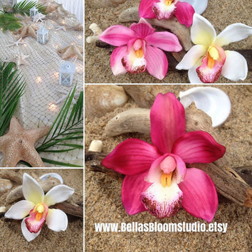Orchid Flower Hair Clip-Weddings, Tropical Hair Clip, Bridal Hair Clip, ORCHID HAIR FLOWER , Beach Destination Weddings, Tropical Flowers,