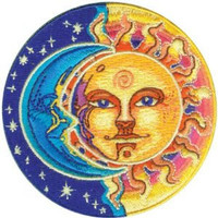 Moon & Sun Round Embroidered Patch CD-P3876