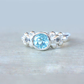 Blue Topaz Engagement Ring Sky Blue Topaz and White Topaz Ring Three Stone Ring Sterling Silver Promise Ring December Birthstone Size 5