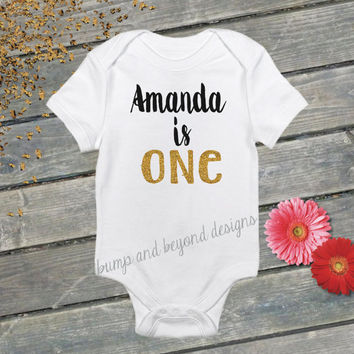 One Year Old Birthday Outfit PERSONALIZED Shirt Baby's First Birthday Shirt Birthday Girl Shirt 1st Birthday Shirt Glitter Birthday Shirt 44