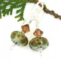 Light Green and Brown Lampwork Earrings, Swarovski Crystals Pewter Sterling Handmade Jewelry