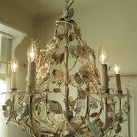 White porcelain rose chandelier lighting shabby cottage chic ivory distressed light fixture w/ pearl necklaces home decor anita spero design