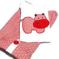 Baby Boy Clothes - Baby Boy Shorts and shirt - Boy Summer Outfit - Hippopotamus
