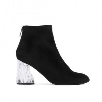 LAURA PERSPEX CRUSHED HEEL ANKLE BOOTS IN BLACK FAUX SUEDE